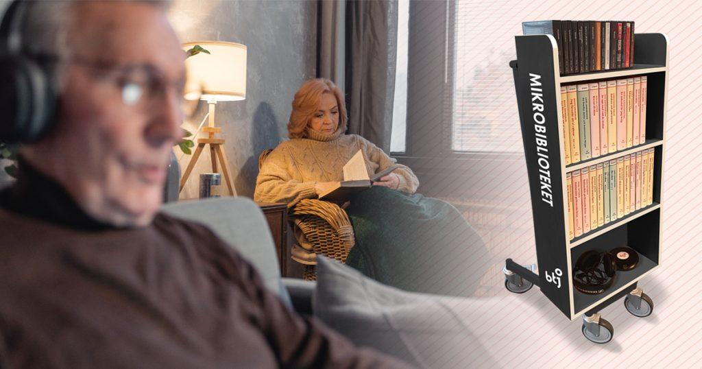 Man som lyssnar på ljudbok, kvinna som läser bok. Mikrobibliotek på vagn